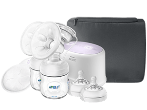 Double electric breast pump and nipples Philips Avent